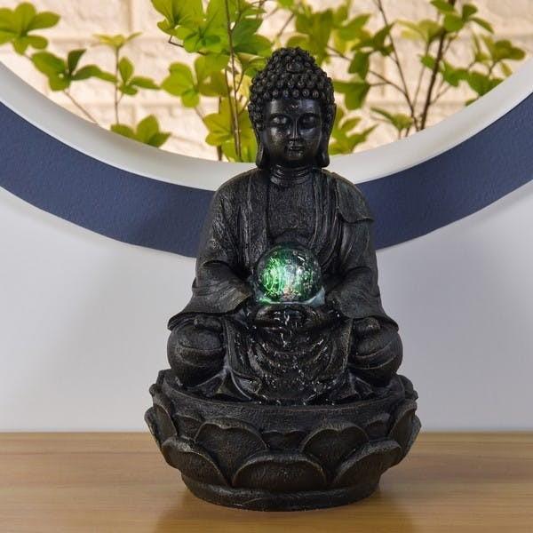 Brunnen Buddha 33cm Grau Wasser Beleuchtung Brunnenbuddha Feng Shui