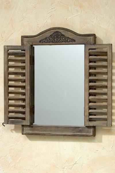 Wandspiegel in Braun mit Fensterladen Fenster Landhaus Spiegel Fensterläden