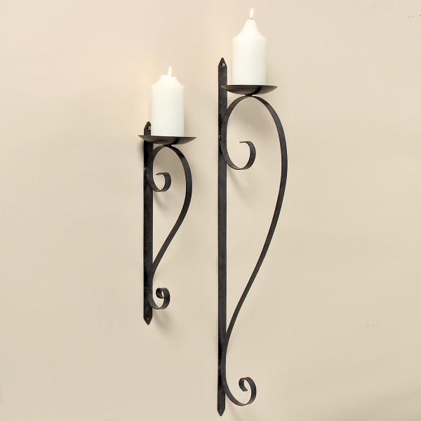 Wand Kerzenleuchter 87cm Höhe Eisen Dunkelgrau Wandkerzenhalter Metall