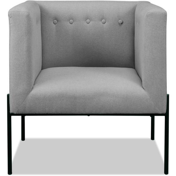Design Sessel Grau Stoff Clubsessel Loungesessel Stuhl