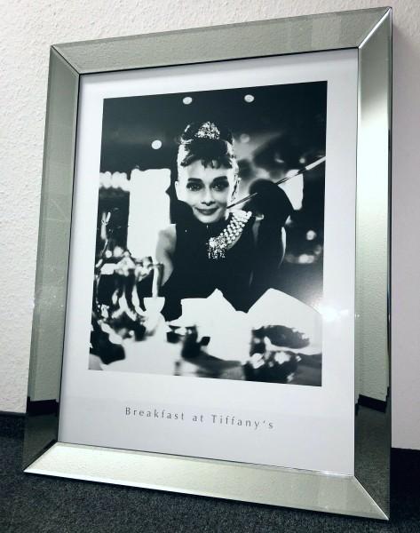 Bild Spiegelrahmen Breakfast Tiffany Audrey Hepburn Colmore 90x70cm Wandbild Spiegel