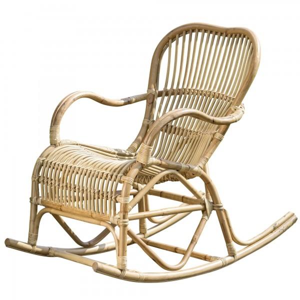 Schaukelstuhl Rocio Natur Rattan Schaukel B106cm Sessel Entspannung Mediterran Sessel Relaxen