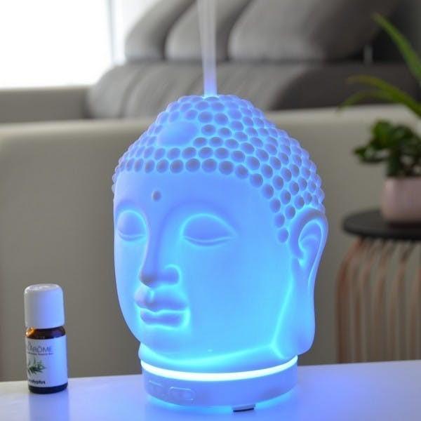Buddha Diffuser Buddhakopf für Öle LED leuchtend Figur Modell Kopf