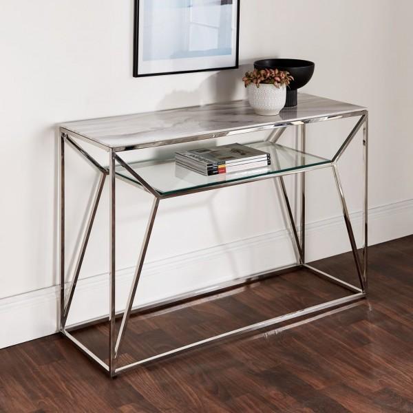 Konsolentisch Chrom Marmor Glas 120cm poliert Silber Tisch Edelstahl