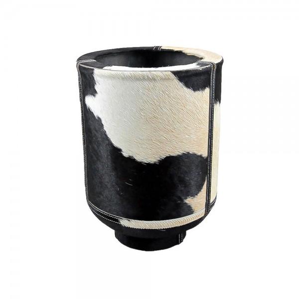 Edle Vase Kuhfell 35cm Schwarz Fell Blumenvase Übertopf Kuhfellvase Dekovase