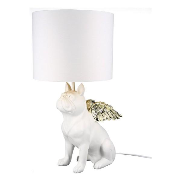 Tischlampe Bully Casablanca Bulldogge Flügel Weiß Gold Hund Lampe Tischleuchte