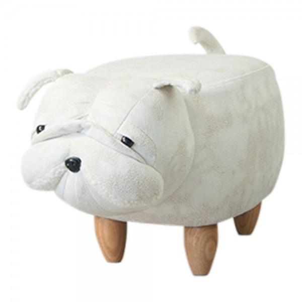 Ausgefallener Hocker Bulldogge Hund 60cm Weiß Sitzhocker Kunstleder Holz Fußhocker