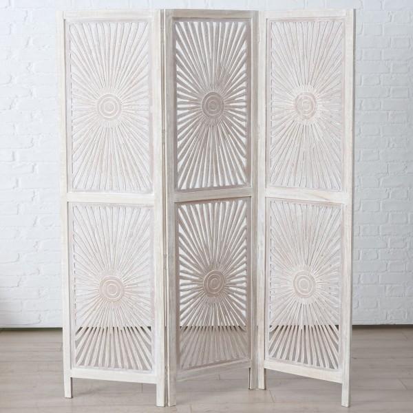 Paravent Mooka Braun Weiß Mango-Holz Ornamente Raumteiler Landhaus