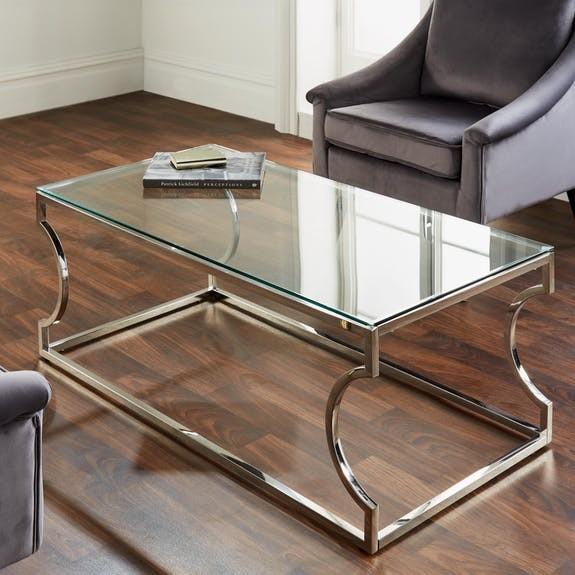 Couchtisch Chrom Glas Silber 120cm Metall Tisch Beistelltisch