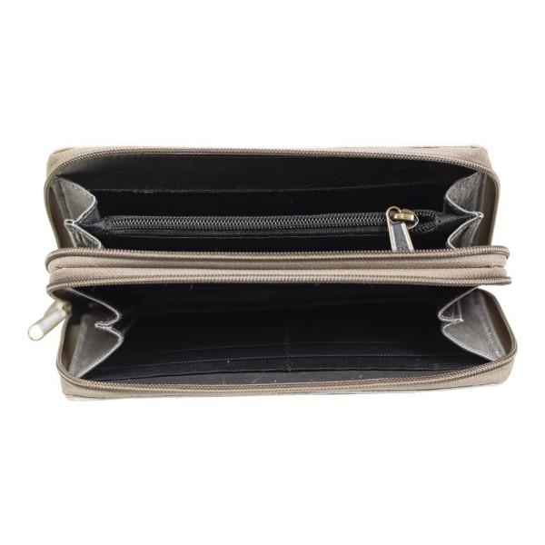 Hochwertiges Portemonnaie Grau Kuhfell Geldbörse Geldbeutel Leder Tasche