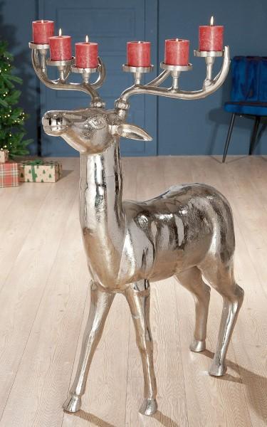 XXL Kerzenleuchter Hirsch 117cm Casablanca Gilde Silber Aluminium Kerzenhalter Geweih