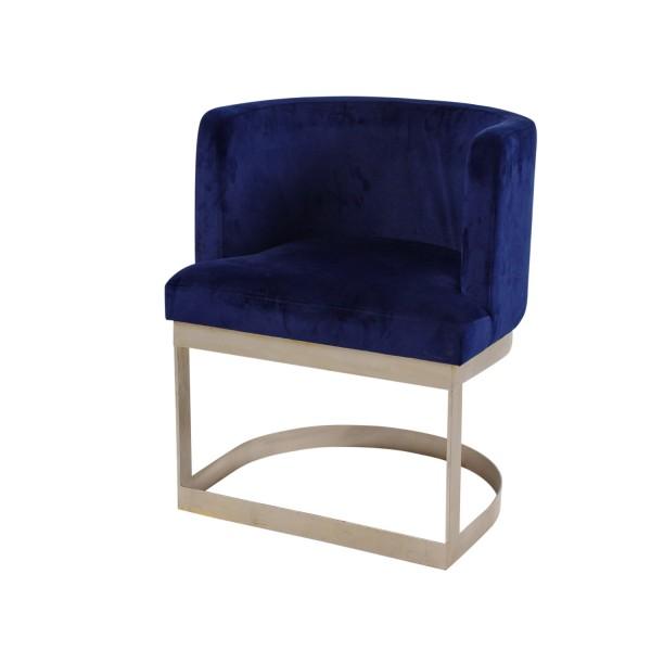 Edler Sessel Royce, Clubsessel Loungesessel Samtsessel Blau Gold Samt Stuhl