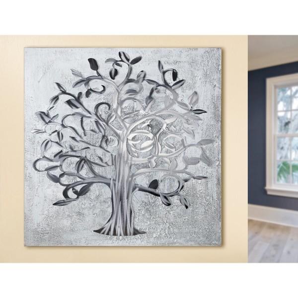 Wandbild Lebensbaum 90cm Casablanca Gilde Baum Silber Grau Bild