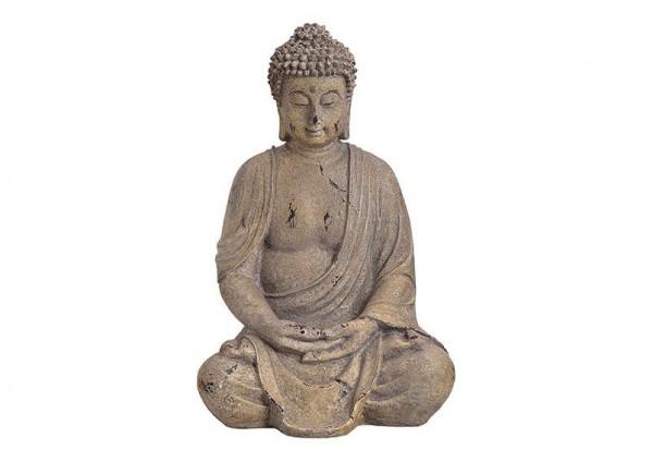 Buddha 40cm Braun Sand Figur Modell Grau Mönch Buddhafigur Statue