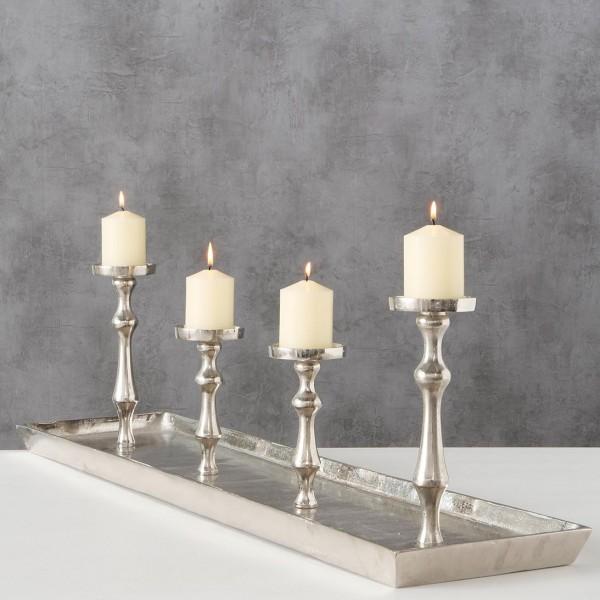 Kerzenständer Kerzenleuchter Furo Metall 100cm 4 Kerzen Advent silber Aluminium