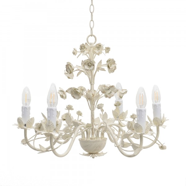 Eleganter Kronleuchter Beige Rose Blätter Deckenlampe Rosen Lampe Hängelampe Blatt