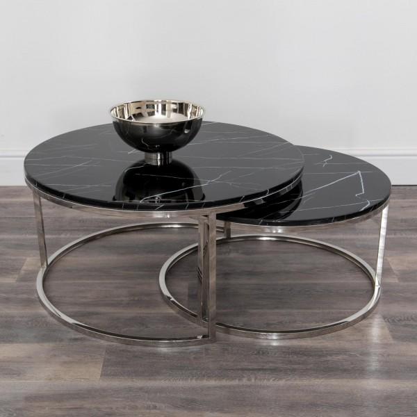 2er Set Couchtisch Silber Chrom Schwarz Marmor Metall Tisch Beistelltisch