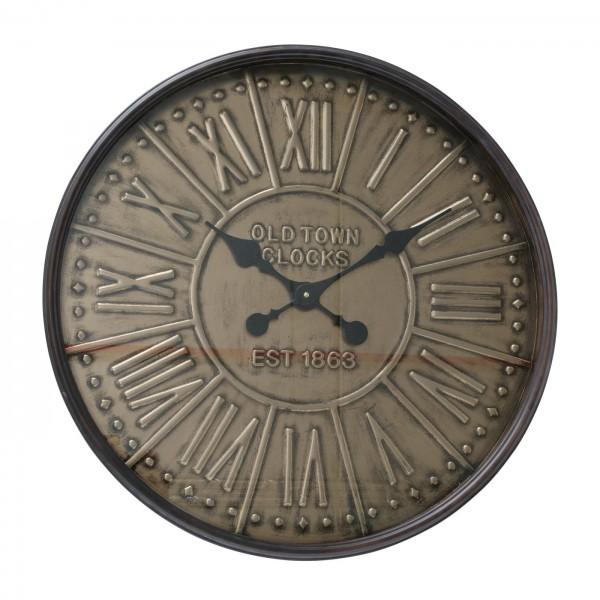 Edle Wanduhr Navagio 60cm Antik Gold Eisen Western Oldtown Uhr