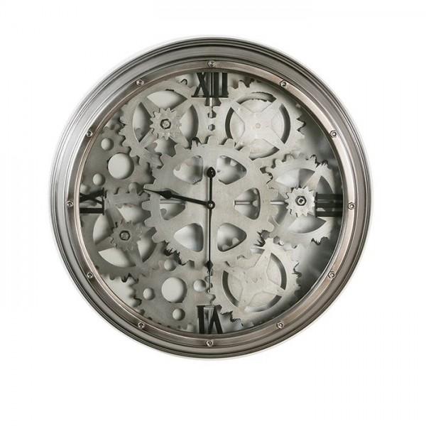 Wanduhr Uhr Glas Zahnräder Loft Casablanca 60cm Eisen Metall Grau Uhrwerk