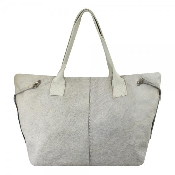 Edle Handtasche Kuhfell Grau Weiss 50cm Tasche Shopper Leder Ledertasche
