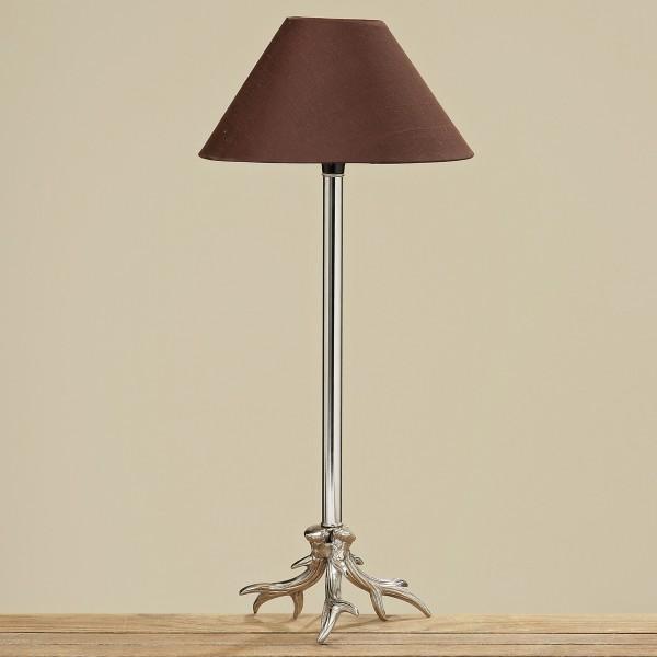 Tischlampe Geweih 57cm Höhe mit braunem Schirm