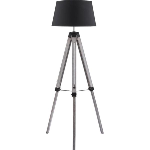 Stehlampe Tripod Schirm Grau Holz Stativ Lampe Stativlampe Teleskop Teleskoplampe