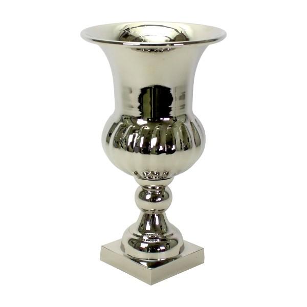 Edle Vase Flavio 38cm Aluminium Nickel Silber Tischvase Alu Dekovase