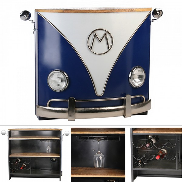 Geniale Bulli Bar Casablanca Metall Regal Tisch Bus Auto Front Blau Weiss