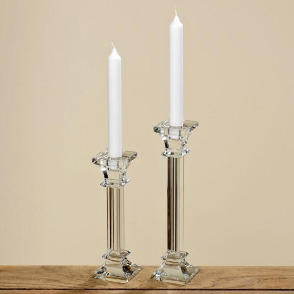 2er Set Kerzenleuchter aus Glas 20 + 25cm einflammig klar Kristall