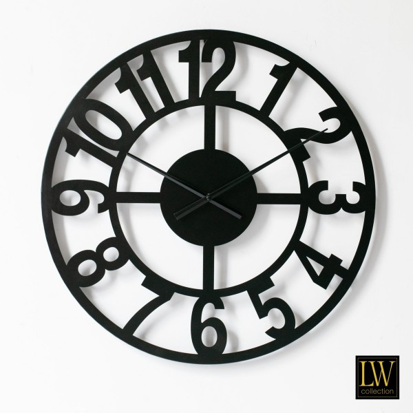 Wanduhr 60cm Big Schwarz Metall Rom Uhr Wand Italien