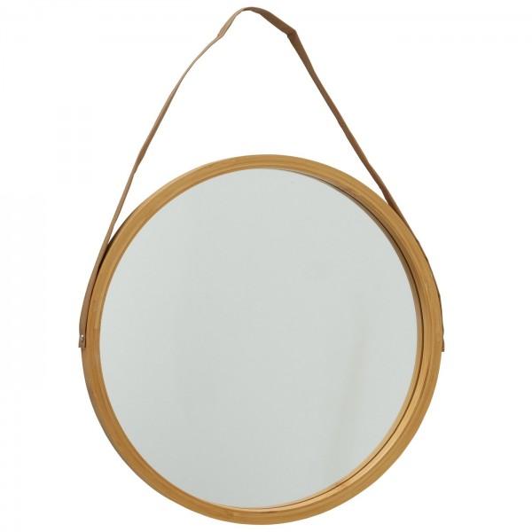 Edler Wandspiegel 38cm Akemi Boltze Braun rund Tau Seil Leder Spiegel
