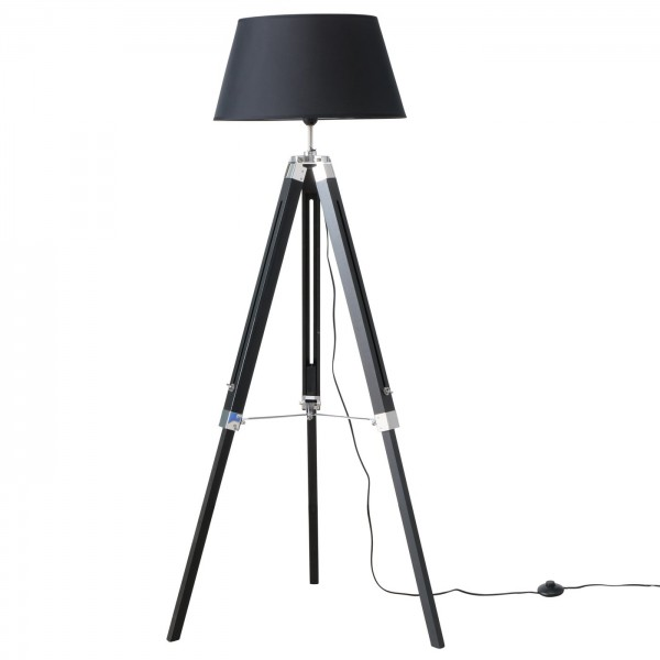 Stativlampe 147cm Schwarz Schirm Holz Stativ Stehlampe Lampe Teleskop Teleskoplampe Tripod