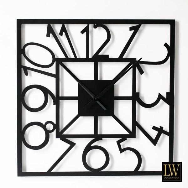 Große Wanduhr Schwarz 80cm quadratisch Metall Quadrat Uhr Wand