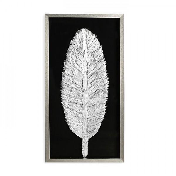 Wandbild Feder 100x50cm Casablanca Silber Glas Ornament plastisch 3D Bild