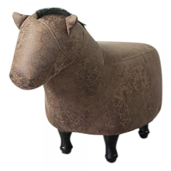 Genialer Hocker Pferd 67cm Braun Sitzhocker Kunstleder Holz Fußhocker