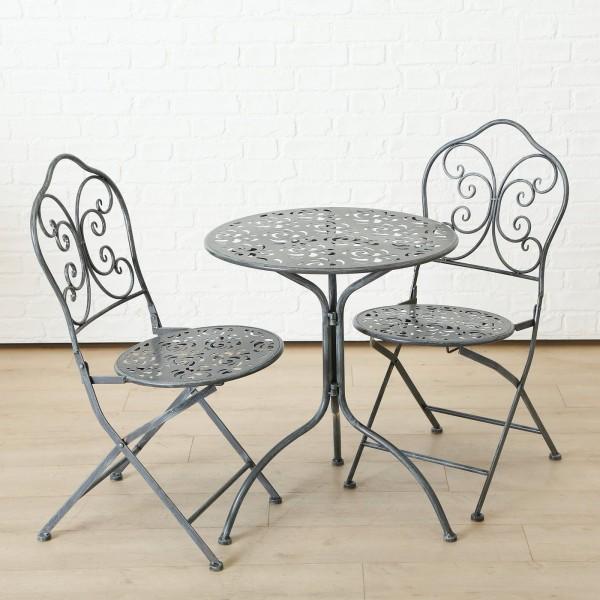 Tisch Set 2 Stühle Ida Gartentisch Grau Gartenstuhl Garten Stuhl Eisen