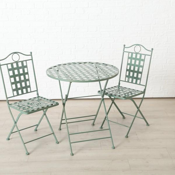 Tisch Set 2 Stühle Patio Gartentisch Grün Gartenstuhl Garten Stuhl Eisen