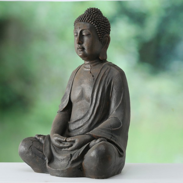 XL Buddha Figur 100cm Modell Grau Magnesia Braun Mönch Statue