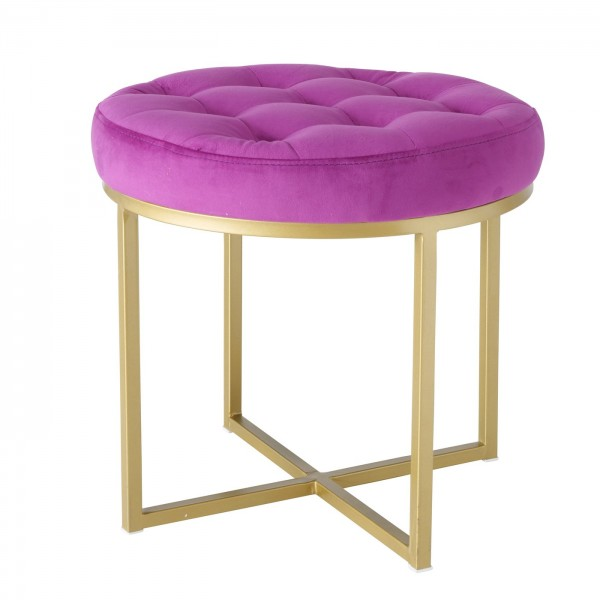 Genialer Hocker Fantastic rund Samt Rosa Pink Gold Sitzhocker Beistelltisch Samthocker