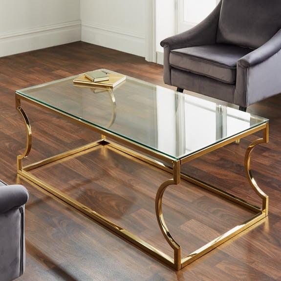 Couchtisch Gold Glas 120cm Edward Metall Tisch Beistelltisch