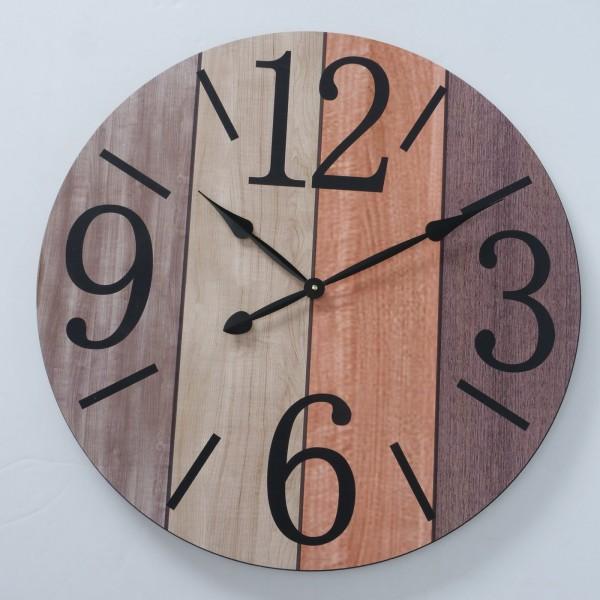 Auffällige XL Wanduhr Budapest 74cm Natur Holz Braun Uhr Wand