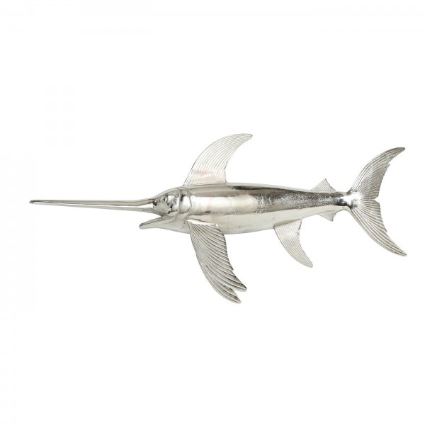 XL Wandobjekt Fisch 108cm Silber Schwertfisch Hai Fischschwarm Wandbild Bild