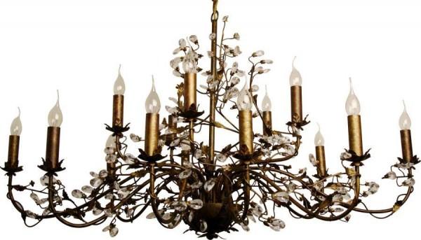 Kronleuchter Evita Braun 15-flammig 120cm Metall Kristalle Deckenlampe Hängelampe Blätter