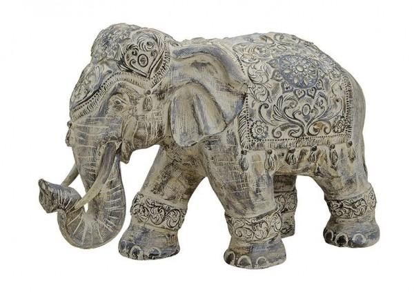 XXL indischer Elefant 50cm Grau Stein Optik Indien Afrika Figur Elephant Modell