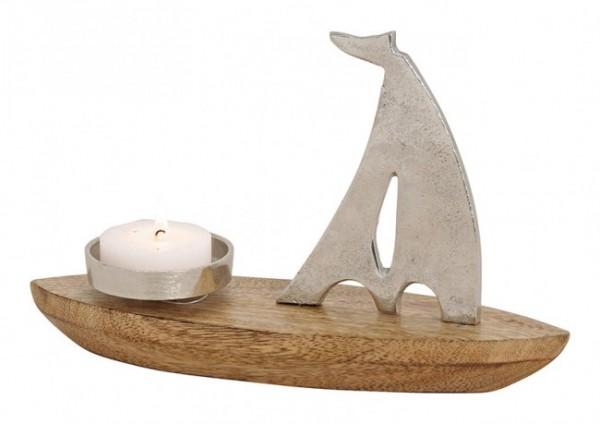 Edles Segelboot Modell Mangoholz Metall Kerze 30cm Silber Braun Boot Schiff
