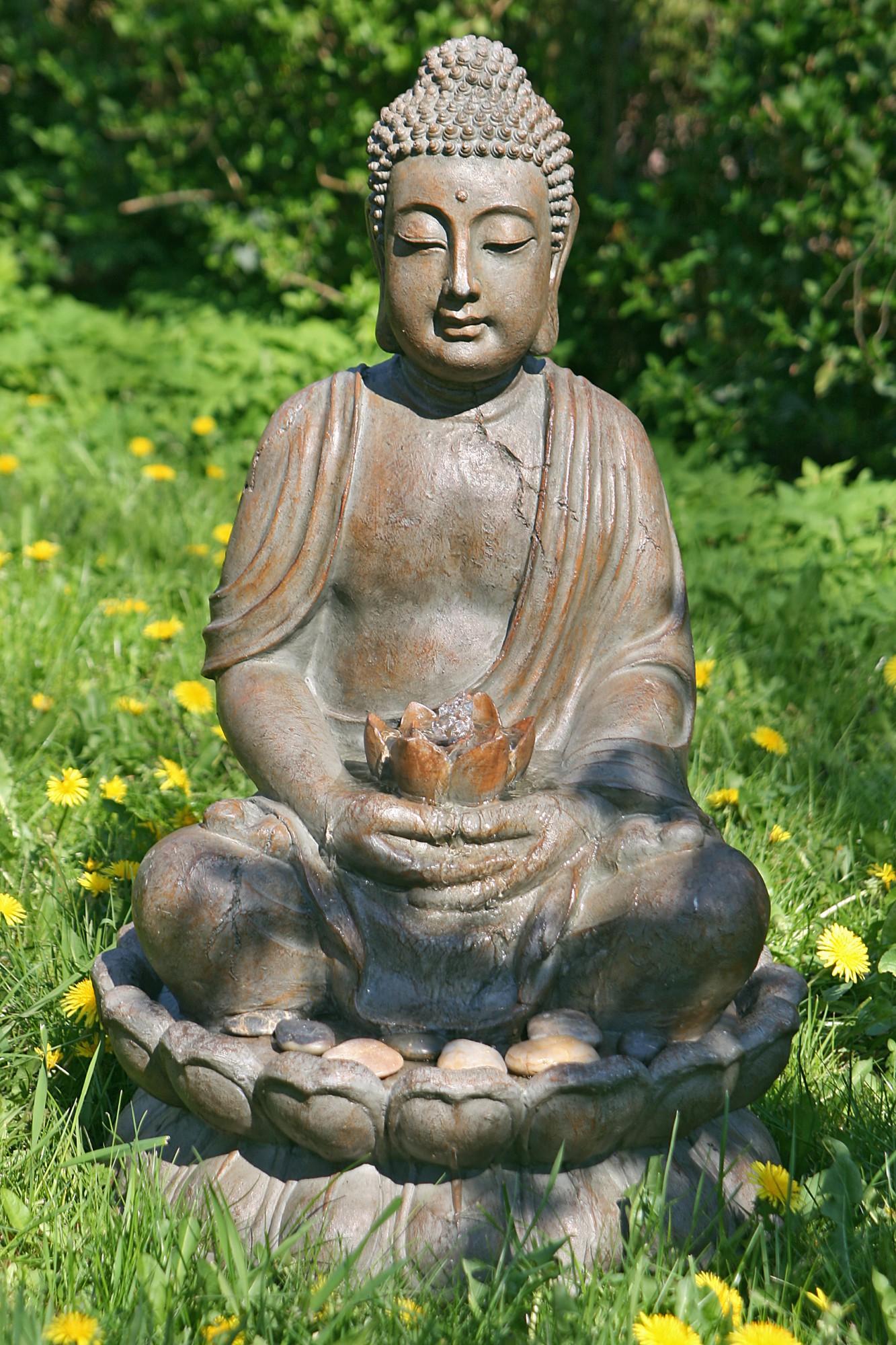 brunnen buddha skulptur statue 86cm incl licht pumpe feng shui figur dafloxx versand. Black Bedroom Furniture Sets. Home Design Ideas