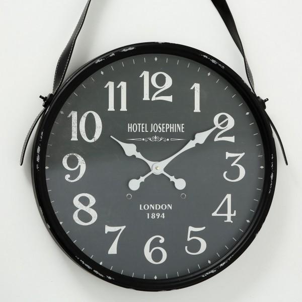 Schmucke Wanduhr Marsha D51cm Metall Schwarz London England Teatime Uhr