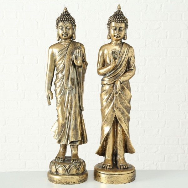 2er Set Buddha Limara Mönch Modell Figur H82cm Gold Indien Yoga Asien