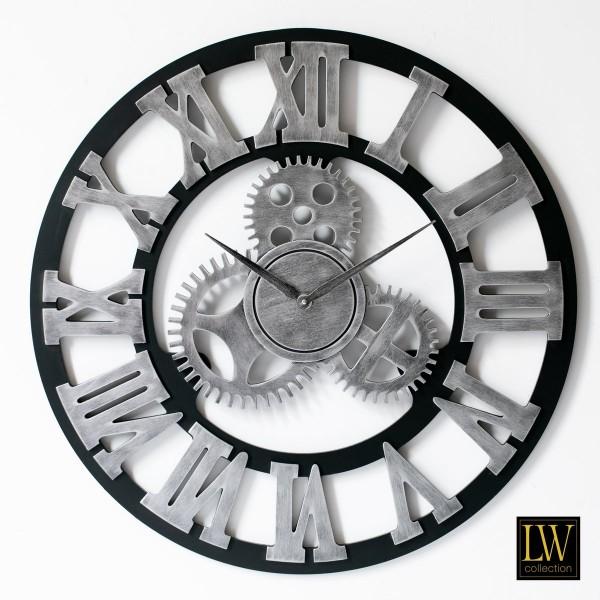 Wanduhr Industrie Holz 60cm Silber Zahnräder Uhr Wand Industry