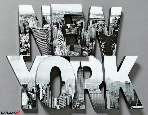 SCHRIFTZUG NEW YORK 40x30cm BILD BUCHSTABEN MANHATTAN AMERIKA SKYLINE WANDTATTOO